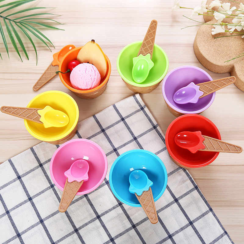 1Set Ice Cream Bowl Spoon Clear/Fluffy Slime Box fashion Kids Food Play Toys For Children Charms Clay DIY Kit Accessories