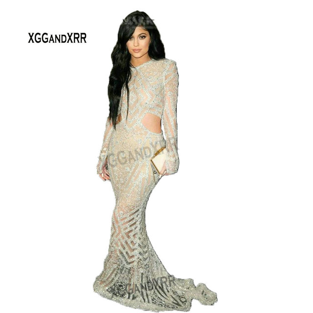 Kylie Jenner Luxury Crystal Beading Mermaid Celebrity Dress Sexy Open Back Full Sleeves Long Evening Dress Red Carpet Dress