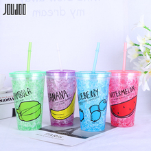 JOUDOO Plastic Water Ice Bottle Creative Small Double Cup With Straw Summer Anti-fall Juice Office Camp Of 35