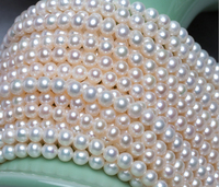wholesale(AAAAA High quality) 4 4.5mm/4.5 5mm Natural Freshwater White Color Pearl Round Beads 40cm For Jewelry Making