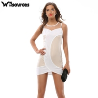 Witsources women sexy mesh patchwork pencil dresses summer new fashion sexy club sleeveless work skinny dress SD3695