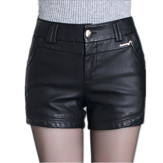 High waist shorts Women's Plus size leather shorts 2017 Autumn PU leathe Slim fit shorts Ladies Skinny Leatherwear shorts Girls