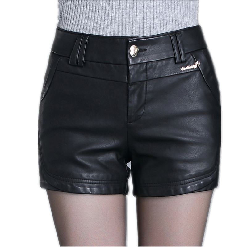 High Waist Shorts Women's Plus Size Leather Shorts 2019 Spring PU Leathe Slim Fit Shorts Ladies Skinny Leatherwear Shorts Girls
