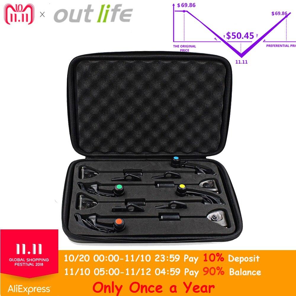 Outlife JY-19-SW Digitale Senza Fili Allarme di Pesca Set 4 Bite Allarmi Con Indicatore Schermo LCD 1 Ricevitore 4 di Pesce Scambisti Con zip