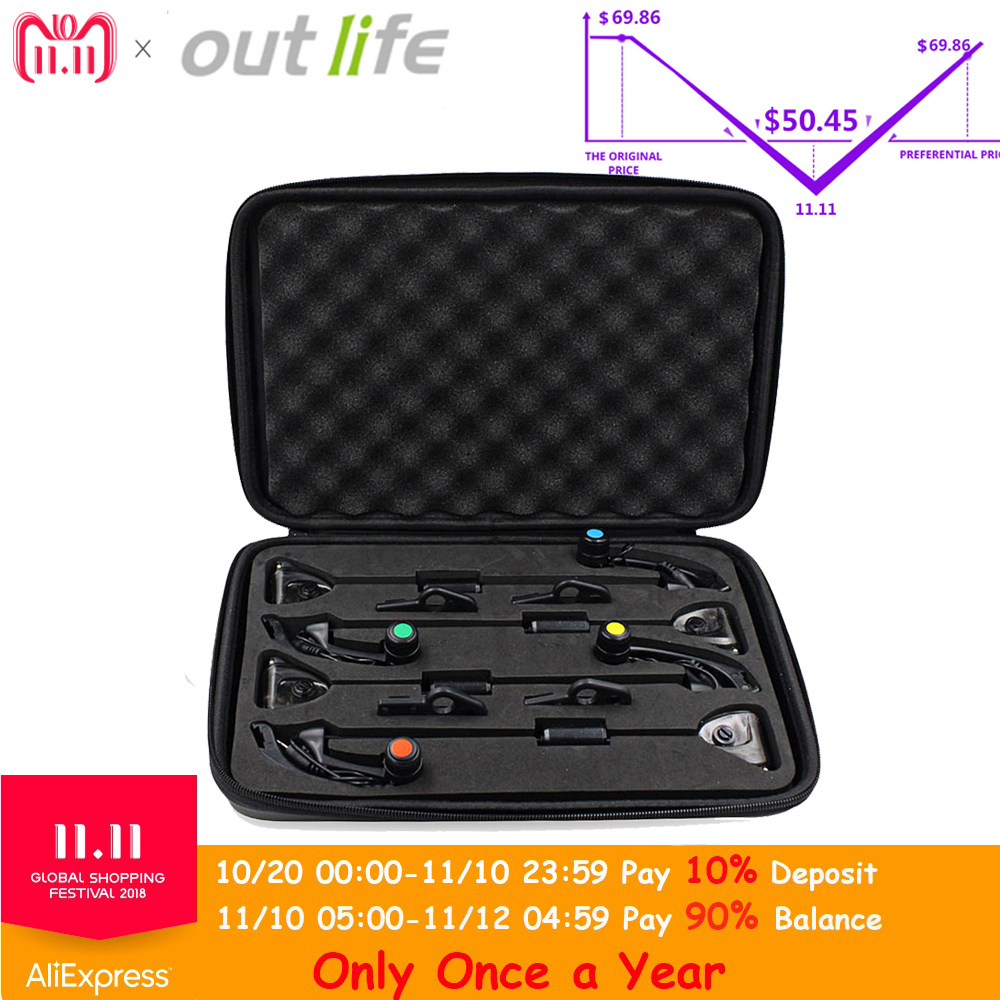 Outlife JY-19-SW Wireless Digital Fishing Alarm Set 4 Bite Alarms With LCD Screen Indicator 1 Receiver 4 Fish Swingers With Zip wireless jy 19 sw fish fishing alarm bite set fishing alarms bells carp light for tackle rod fishing with lcd screen indicator