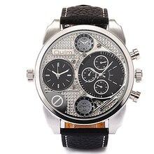 Gran estilo y tendencia Peculiar Personalidad Dail Reloj! 2 Colores Cuarzo y Banda de Cuero Hombre Moda casual Hombres Relojes de Pulsera HP1155