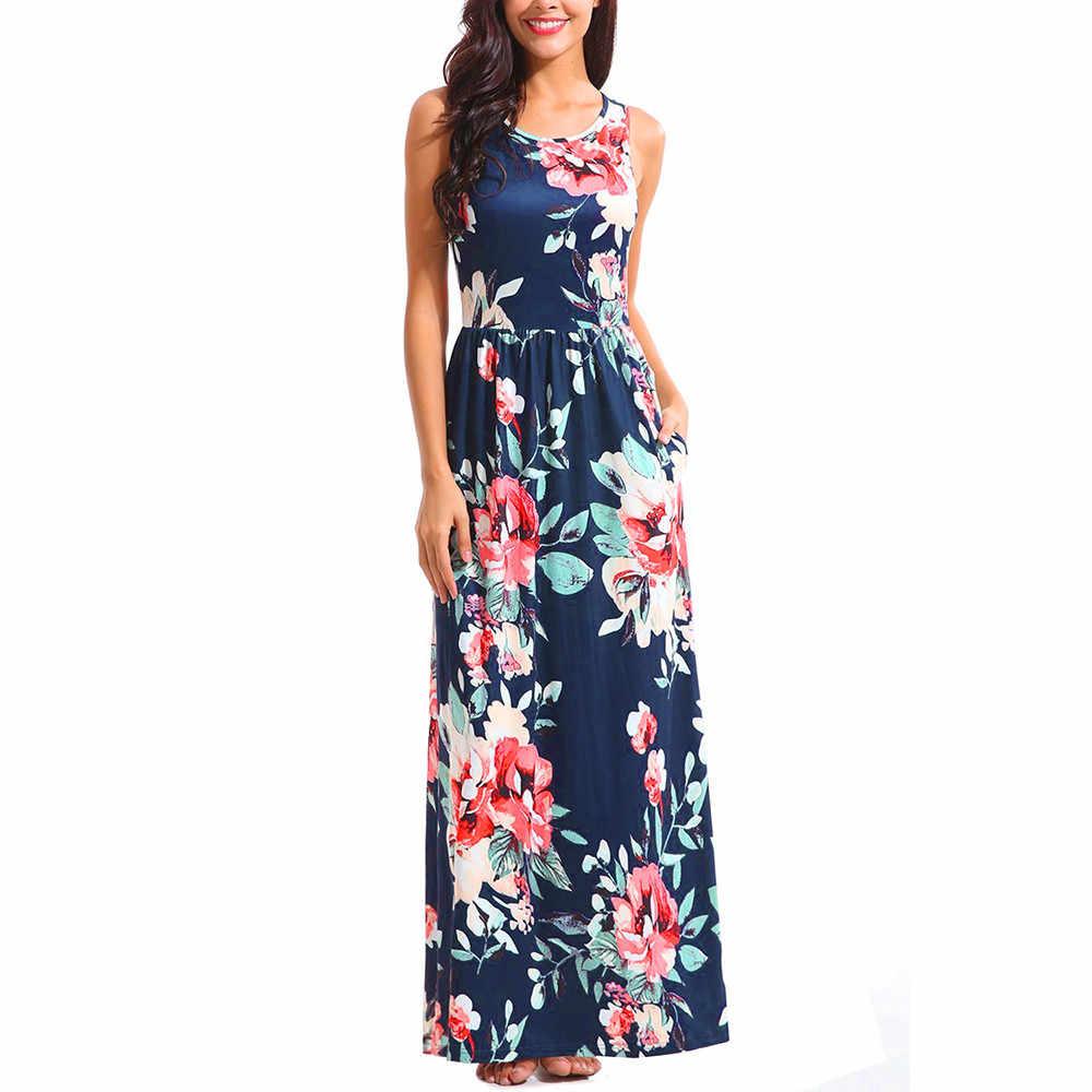 854ed31d7bf Feitong Hot Sale women dress 2018 Women Sleeveless Printing Summer O Neck  Casual Maxi Dress Floral