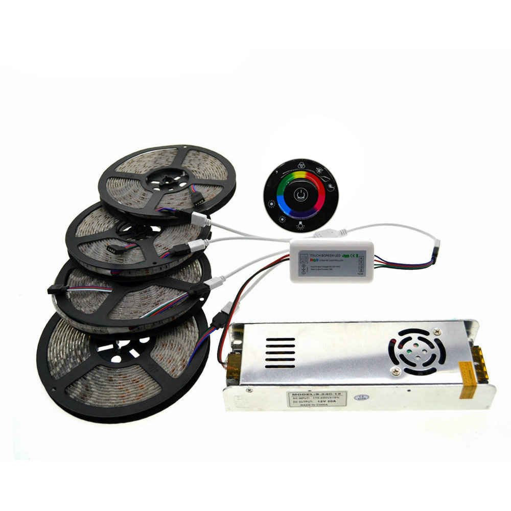 5M/10M/15M/20M IP20/IP65 Waterproof 5050 RGB LED Strip Set + 7Keys 2.4G Wireless RF Touch Controller + 12V Power Supply Adapter akg pae5 m