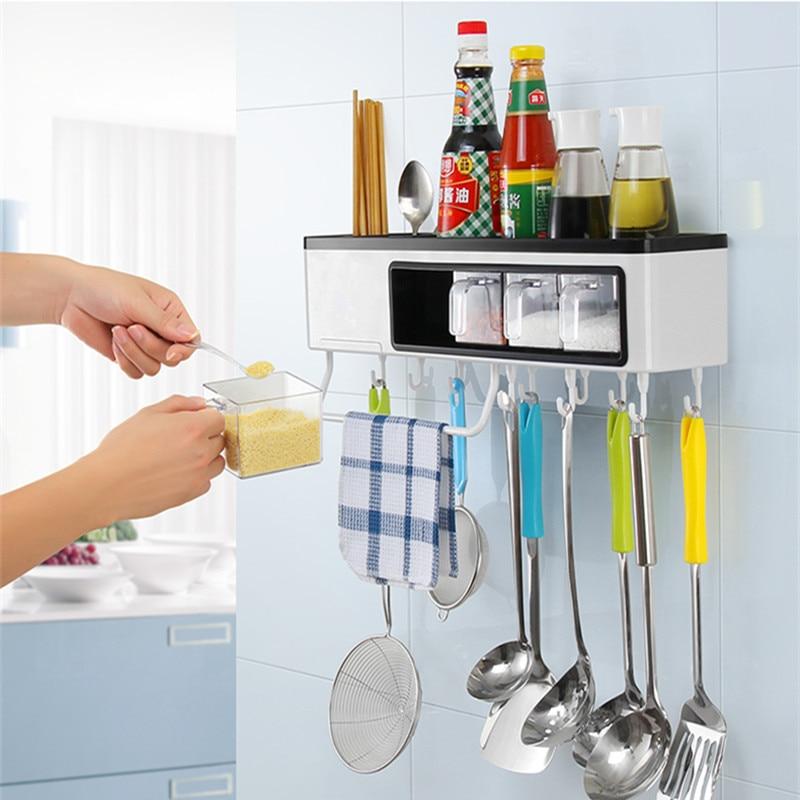 Высококачественная многофункциональная кухонная полка настенный стеллаж для хранения ножей кухонная посуда приправа полки кухонные аксессуары - 6