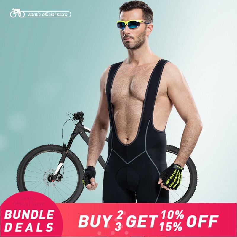 Santic Men Cycling Padded Bib Shorts Coolmax 4D Pad Men s Bib Shorts Cycling Bicycle Bike