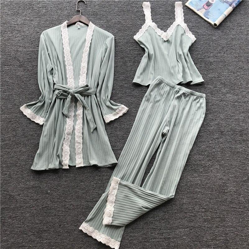 Lisacmvpnel Autumn 3 Pcs Cotton Lace Sexy Woman Pajamas Nightdress Cardigan Long Pant Set Female Pijama