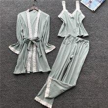 Lisacmvpnel 3 Pcs ฤดูใบไม้ร่วงผ้าฝ้ายลูกไม้เซ็กซี่ผู้หญิงชุดนอน Nightdress + เสื้อ + ชุดกางเกงยาวหญิง Pijama