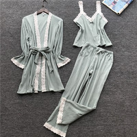 Lisacmvpnel Autumn 3 Pcs Cotton Lace Sexy Woman Pajamas Nightdress+Cardigan+Long Pant Set Female Pijama