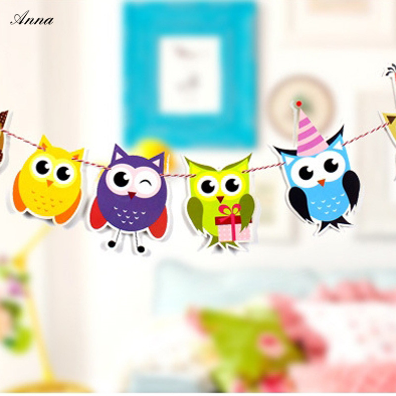 HOT HOT HOT Girls Party Bunting Flags Owl Per Bunting Length 3m Party Favors Kids Boy Happy Birthday Decoration Supplies