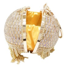 Golden Diamond Tassel Women Party Metal Crystal Clutches Evening Bags (3 colors)