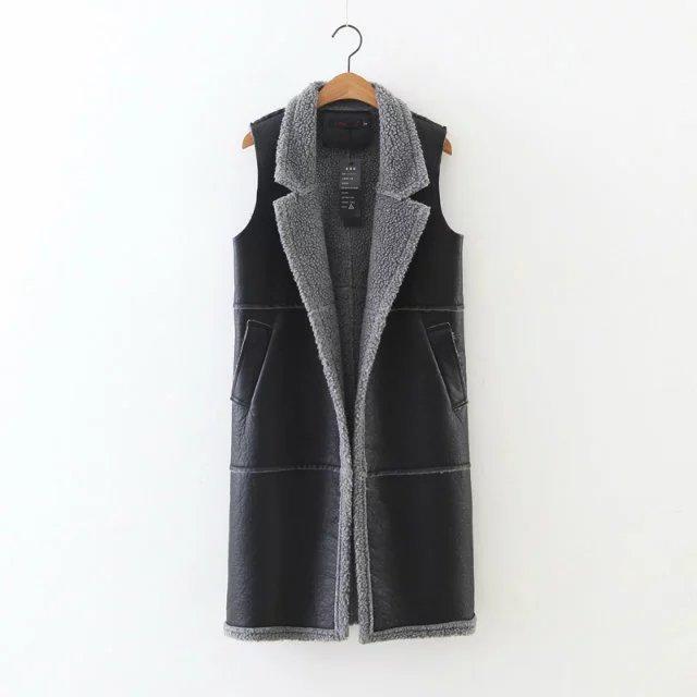 Coletes à prova de inverno quente médio longo para as mulheres moda grande lapela casacos outwear colete sem mangas plus size de lã de cordeiro grosso couro do PLUTÔNIO