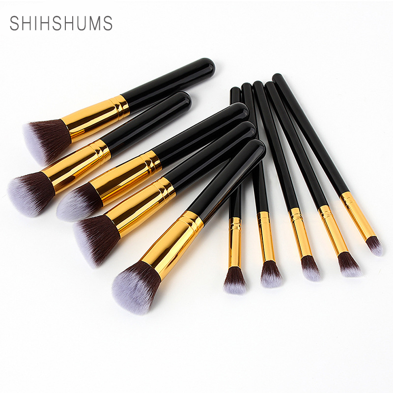 SHIH SHUMS 10pcs Makeup Brushes Set Powder Foundation Eyeshadow Make Up Brushes Cosmetics Soft Synthetic Hair Brushes Kit Tools