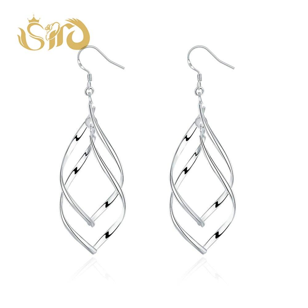 Twisted Double Leaf Shape Earrings Fashion Silver Female Earrings for Women Nickel Free Wedding Bride Jewelry Party Gift