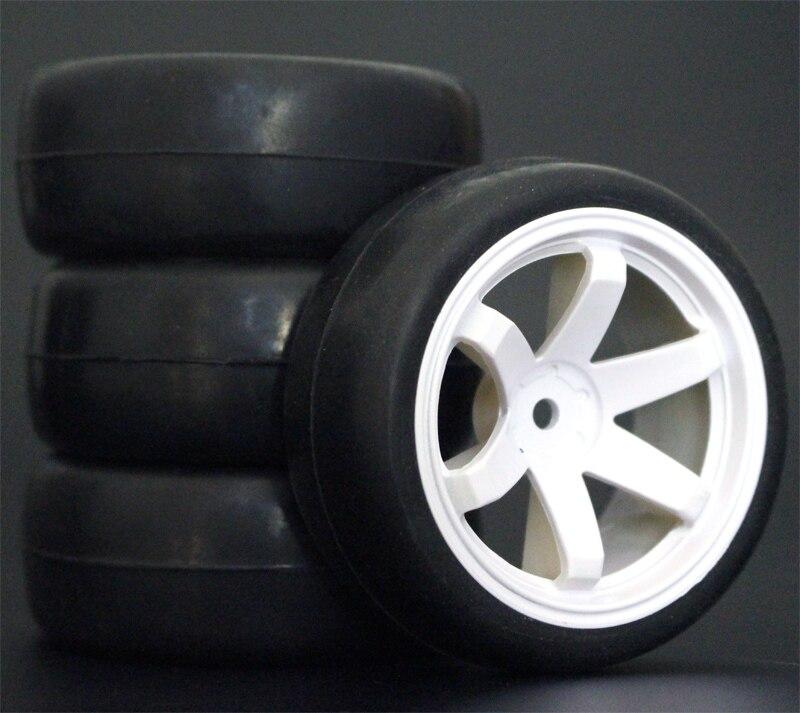 4 pièces RC pneus 1/10 et roues en plastique 26mm insertion en mousse pour voiture de route HSP HPI pièces de rechange