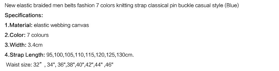 Hot Colors Men Womens Casual Knitted Belt Woven Canvas Elastic Stretch Belt Plain Webbing Belt Metal Buckle Black