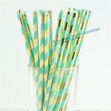 Free Shipping 300pcs Mint Green Gold Foil Paper Straws Bling Bridal Shower Brunch Glam Baby Decor Wedding
