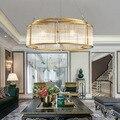 Ретро американский золотой кристалл подвесной светильник Железный для столовой Ресторан спальня гостиная светодиодный E14 лампы