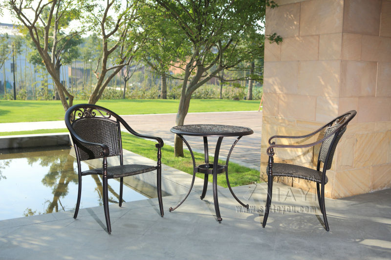 Rattan bistro set 3 piece furniture table and chairs for Weatherproof outdoor furniture