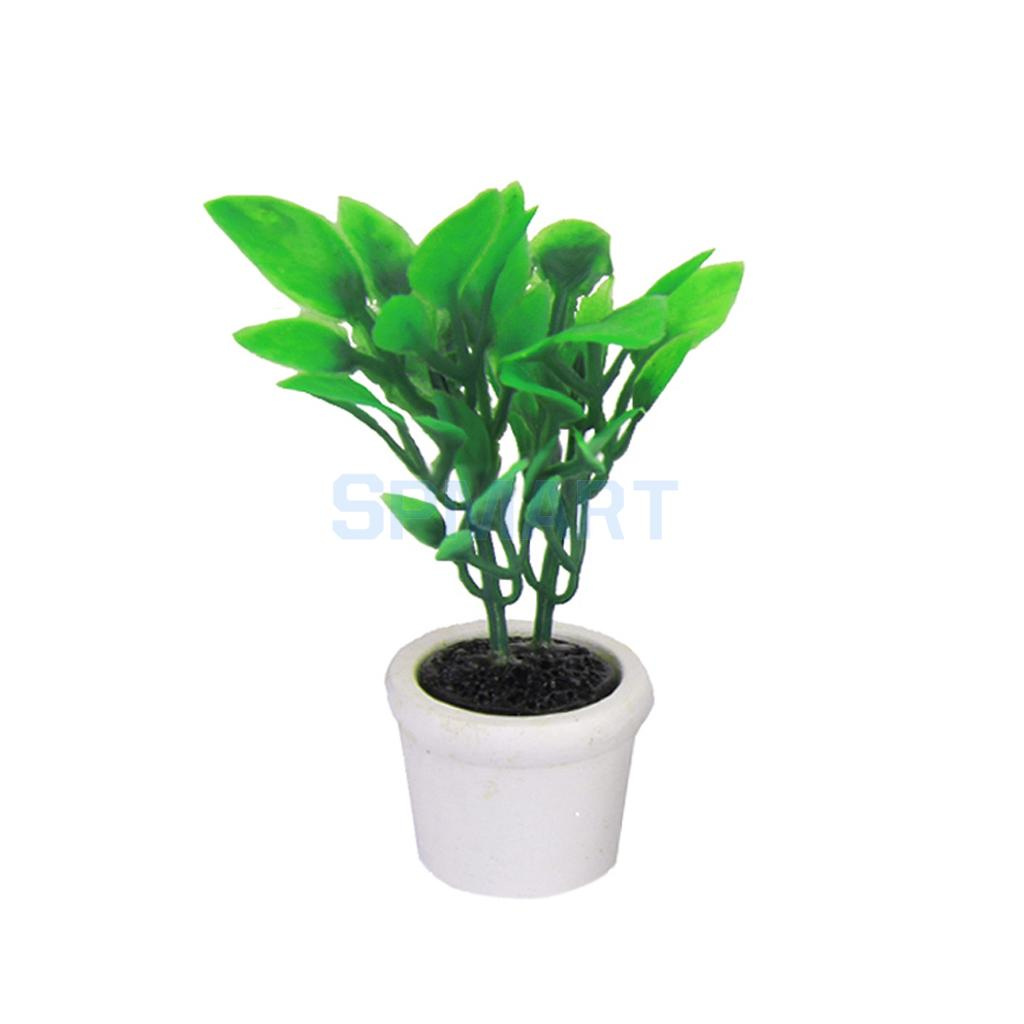New 2015 Brand New 1/12 Green Plant in white pot Dollhouse Miniature Garden Accessory