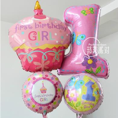 Anagram Aluminum Foil Balloon girls Baby 1 year old Candle Cake