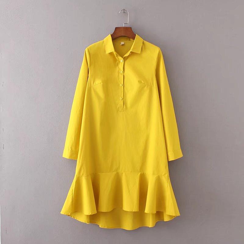 f6b0637f5b1 2018 women vintage long sleeve pullover solid color fishtail mini dress  elegant vestidos business women clothing