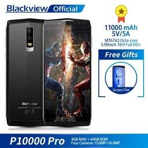 """Image 1 - Blackview P10000 Pro 5,99 """"FHD + полный Экран 4 ГБ + 64 ГБ MT6763 восьмиядерный смартфон 11000 мАч BAK Батарея 5 В/5A 16.0MP сзади Камера"""