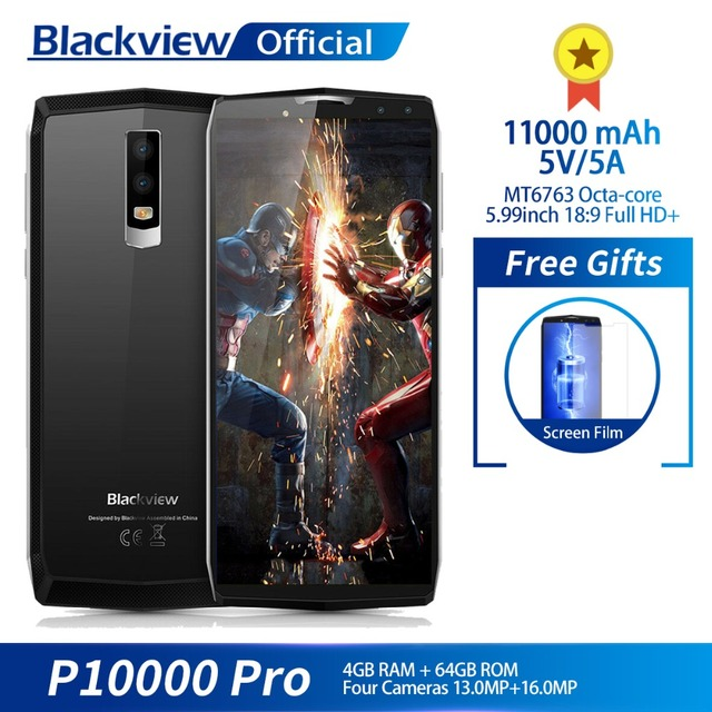 "Blackview P10000 Pro 5,99 ""FHD + полный Экран 4 ГБ + 64 ГБ MT6763 восьмиядерный смартфон 11000 мАч BAK Батарея 5 В/5A 16.0MP сзади Камера"