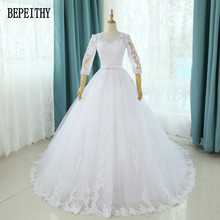 BEPEITHY Vestido De Noiva 2017 Elegant Wedding Gown Bridal Dress Popular Vintage A-Line Long Sleeve Lace Bead Wedding Dress 2017