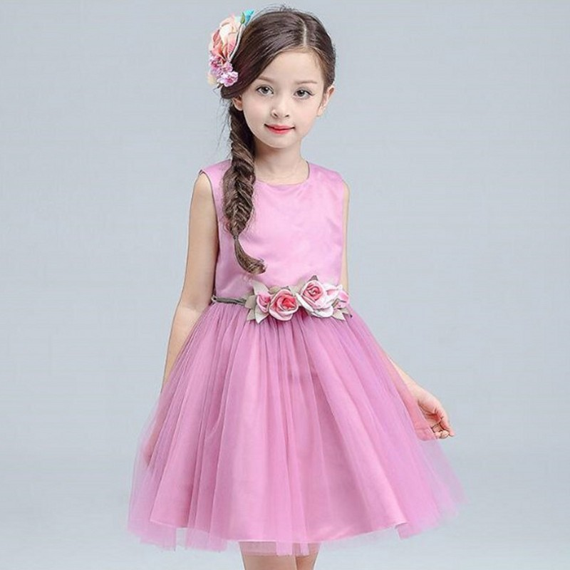 Brand New Flower Girl Dresses 2017 Summer Party Pageant Communion Dress Little Girls Kids Children Dress for Wedding Tulle Gowns children flower girl dresses white lace embroidery kids party wedding pageant ball gowns for girls first communion dress custom