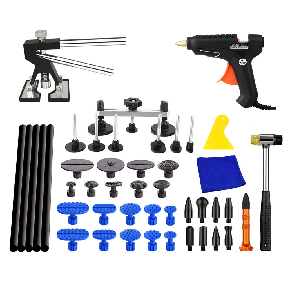 PDR Ferramentas Paintless Dent Repair Tools Car Hail Damage Repair Tool Hot Melt Glue Sticks Glue Gun Puller Tabs Kit  pdr tools for car kit dent lifter glue tabs suction cup hot melt glue sticks paintless dent repair tools hand tools set