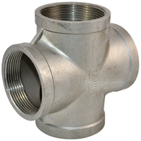 2 4 Way Female Cross Coupling Stainless Steel SS 304 Thread Pipe Fittings