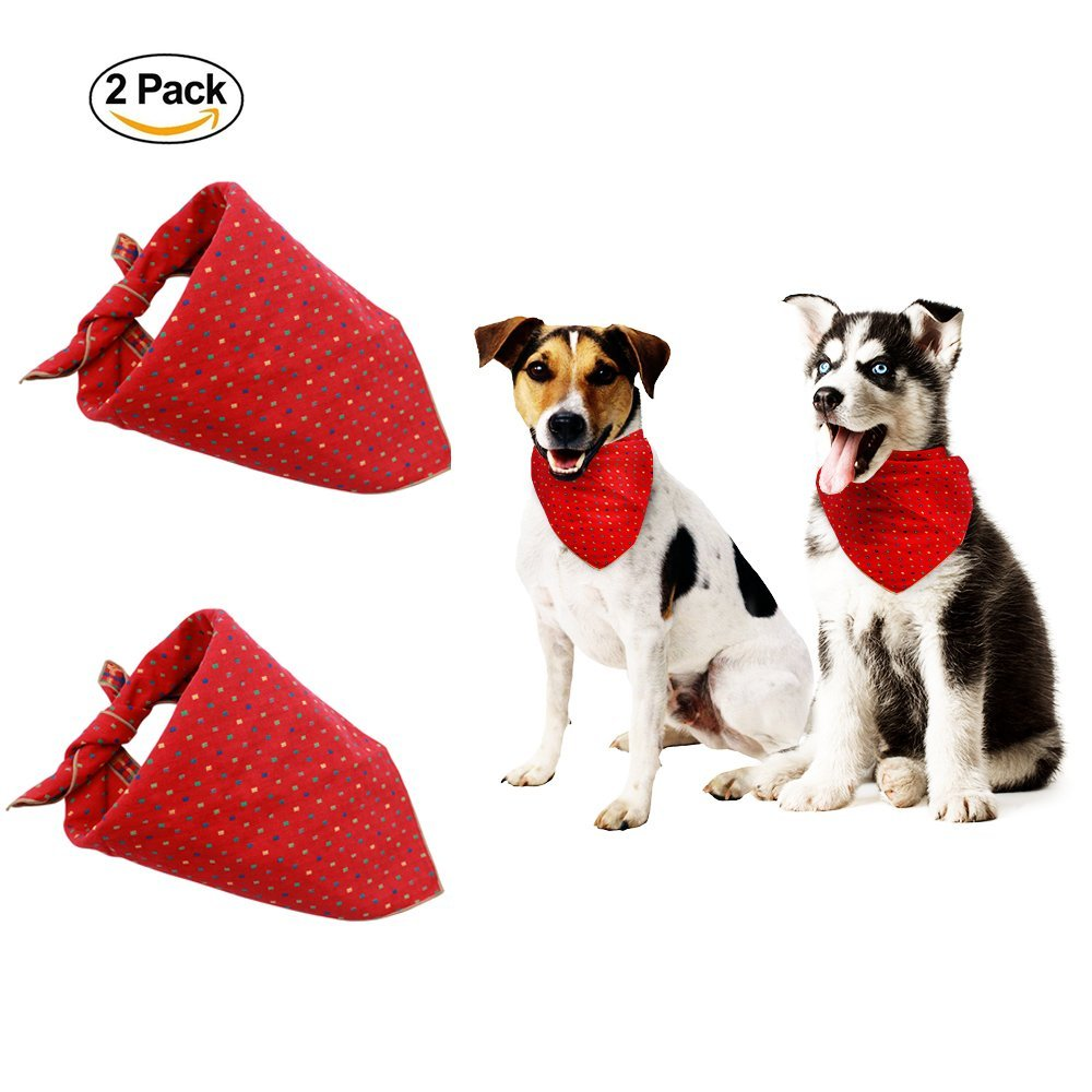 2PCS/Set Pet Dog Cat Puppy Bandana Bib Triangle Head Scarf Accessories Embroidery Neckerchief for Small to Large Breed