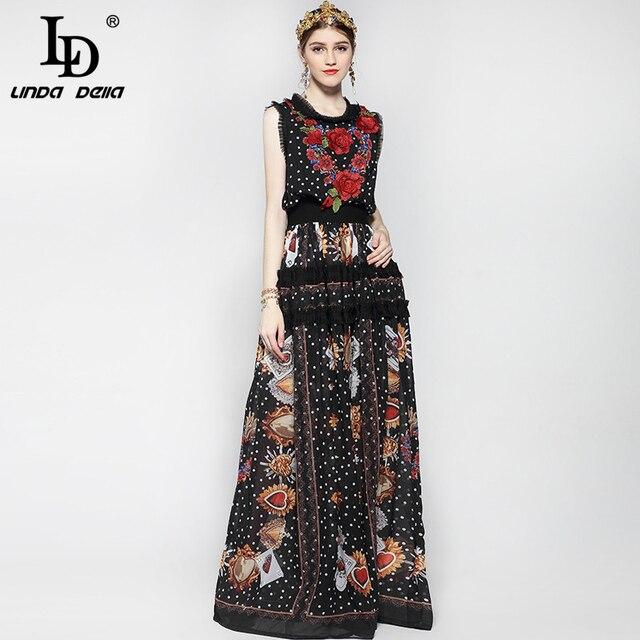 Женское модельное платье макси без рукавов, элегантное винтажное длинное платье в пол с цветочным принтом роз и вышивкой