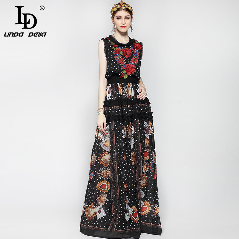 New 2019 Fashion Runway Maxi Dress Women Floor Length Sleeveless Elegant Rose Flower Print Floral Embroidery Vintage Long Dress
