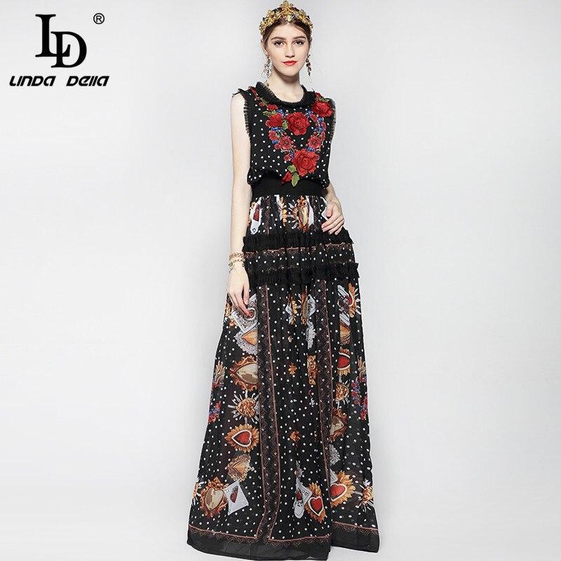 Nouveau 2019 mode piste Maxi robe femmes longueur de plancher sans manches élégant Rose fleur imprimer Floral broderie Vintage longue robe