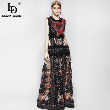 6144888d7 Nueva moda 2019 pista Maxi vestido de las mujeres piso longitud sin mangas  elegante flor Rosa Floral bordado Vintage vestido largo