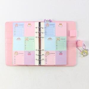 Image 5 - Domikee キャンディかわいい韓国ハードカバー革 6 リングスパイラルバインダープランナーノートブック、かわいい学校のノートブックやジャーナル
