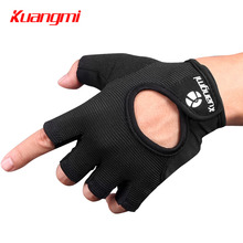 Kuangmi 1 Pair Weight Lifting Gloves Half Finger Fitness Sports Glove Non-Slip Palm Silicone Grip Bodybuilding Gym Protect Hands