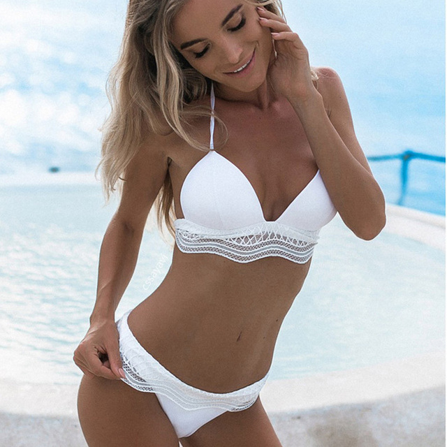 d66ccbe233b 2018 Push Up Black Lace Bikini Sexy Women Strapless Bandeau Bikini Set  Brazilian Female Swimsuit Swimwear Bathing Suit Biquinis