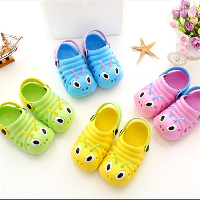 2017 sommer Jungen Mädchen Sandalen Schuhe Caterpillar Anmial Cartoon Stil Kinder Babyschuhe Kind Pantoffel Atmungsaktive 1-6 Jahre