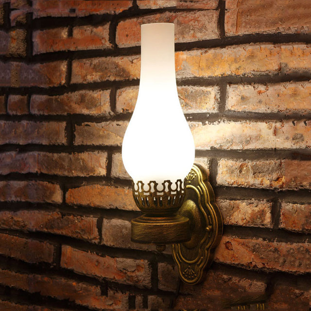 Chinese wall lamp vintage oil wall light bar corridor pub bedroom porch lamp glass retro Cafe dining room iron wall lamp bra