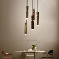 LED lamps modern creative pencil yellow bronze chandelier exhibition halls sitting room dining room droplight