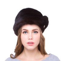 JKP Women Winter Hat Real Mink Fur Head Cap Fox Hair Ball Accessories Adjustable Size Autumn Winter Women's Fashion Party Hat
