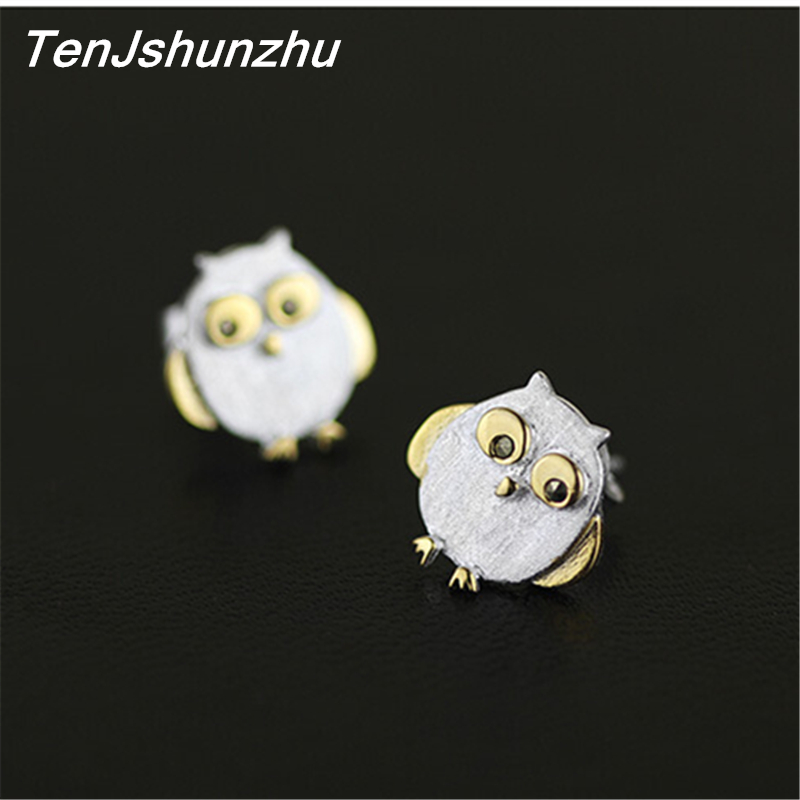 TenJshunzhu 925 Sterling Silver Bird Owl Earrings For Women Girl Lovely Earrings Hypoallergenic Sterling-silver-jewelry eh442