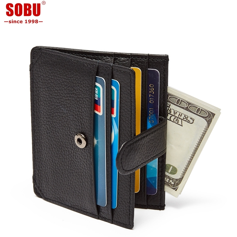 Genuine Leather Bank Card Case Thin Mini Card Holder Wallet Men Business ID Credit Cards Holder Cards Pack Cash Pocket V046 mini metal business name card case id credit card holder bank card holder waterproof business cards organizer office supplies